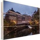 Het stadhuis van de Nederlandse stad Utrecht Vurenhout met planken 160x120 cm - Foto print op Hout (Wanddecoratie) XXL / Groot formaat!