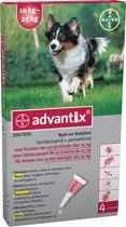 Advantix 250/1250 - Hond - 10 tot 25 kg - 4 pipetten x 2,5 ml