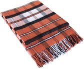 MOST Plaid London - Plaid - 20% wol/80% acryl - 140x200 cm oranje/wit/zwart