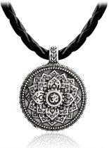 Ronde Lotus bloem hanger aan zwart leren koord - Mandala Ketting - Om teken
