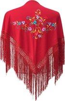 Spaanse manton - omslagdoek - voor kinderen - donker rood met bloemen - bij Flamencojurk