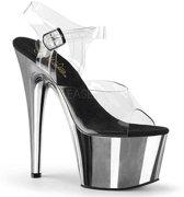 EU 41,5 = US 11 | ADORE-708 | 7 Heel, 2 3/4 PF Ankle Strap Sandal w/ Chrome Plated Btm