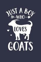 Goat Journal - Just A Boy Who Loves Goats Notebook - Gift for Goat Lovers: Unruled Blank Journey Diary, 110 page, Lined, 6x9 (15.2 x 22.9 cm)