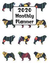 2020 Monthly Planner: Pug Dog - 12 Month Planner Calendar Organizer Agenda with Habit Tracker, Notes, Address, Password, & Dot Grid Pages