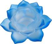 Sfeerlicht - Lotus - glas - blauw - 5.5 x 12 cm