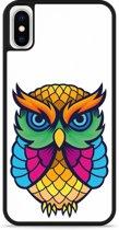 iPhone X Hardcase hoesje Colorful Owl Artwork