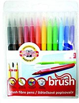 Brush pens, stiften met penseelpunt, 12 kleuren