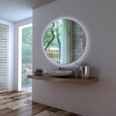 Ben Mirano Spiegel Rond incl. LED-verlichting Ø 80 cm Wit Houten frame