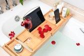 Luxe Verstelbare Bamboe Badrek voor laptop, tablet, telefoon – Handgemaakt Badkamermeubel met Boekenrek - Badplank