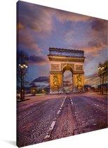 Kleurrijk beeld van de beroemde triomfboog in Parijs Canvas 30x40 cm - klein - Foto print op Canvas schilderij (Wanddecoratie woonkamer / slaapkamer)