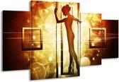 Canvas schilderij Dansen | Geel, Wit, Bruin | 160x90cm 4Luik