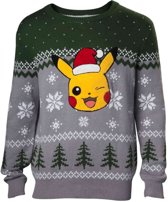Difuzed Pokémon Kersttrui Pikachu Maat XL - Grijs - Carnavalskleding