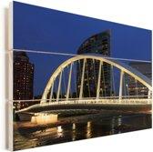 Lichten van Main Street Bridge over de Scioto River in Columbus van de Verenigde Staten Vurenhout met planken 60x40 cm - Foto print op Hout (Wanddecoratie)