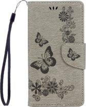 Voor Sony Xperia XZ Power Vlinders Embossing horizontaal Flip lederen hoesje met houder & opbergruimte voor pinpassen & portemonnee & Lanyard(grijs)