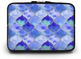 15 inch Laptophoes Marokkaanse Print – Blauw – Laptoptas Sleeve met Rits Sluiting