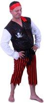 Piraat Black Beard - Kostuum - Polyester- Maat 58-60 - 3 delig - Zwart Wit