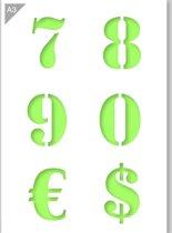 Cijfersjabloon - 7 8 9 0 € $ - Kunststof A3 stencil - Kindvriendelijk sjabloon geschikt voor graffiti, airbrush, schilderen, muren, meubilair, taarten en andere doeleinden