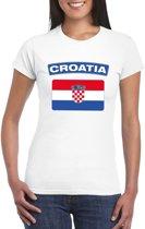 T-shirt met Kroatische vlag wit dames XL