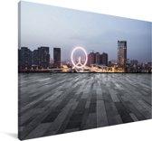 Skyline van Tianjin Canvas 140x90 cm - Foto print op Canvas schilderij (Wanddecoratie woonkamer / slaapkamer)