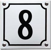 Emaille huisnummer wit/zwart nr. 8