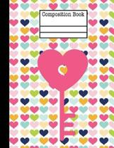 Key Hearts Composition Notebook - Blank Unlined Paper