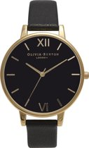 Olivia Burton Big Dial OB15BD55 - Horloge - Leer - Zwart - 38mm