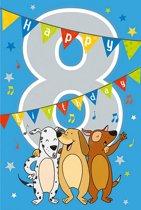 Cijferkaart met muziek 8 Happy Birthday