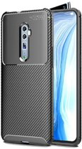 Teleplus Oppo Reno 10x Zoom Case Negro Carbon Silicone Black + Full Covering Glass hoesje