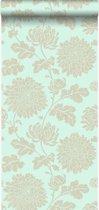 Origin behang bloemen zeegroen - 326148
