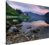 Uitzicht op de baai van Kotor in Montenegro Canvas 60x40 cm - Foto print op Canvas schilderij (Wanddecoratie woonkamer / slaapkamer)