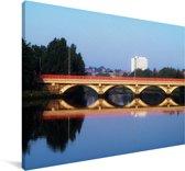 De Ormeau-brug in Belfast Canvas 120x80 cm - Foto print op Canvas schilderij (Wanddecoratie woonkamer / slaapkamer) / Europese steden Canvas Schilderijen