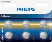 Philips CR2032 3v lithium knoopcel batterij - 6 stuks