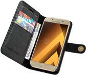 Samsung Galaxy A5 (2017) Echt Leren Portemonnee Hoesje Zwart