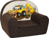 Luxe kinderstoel - kinderfauteuil - sofa - 60 x 45 - bruin - graafmachine