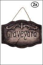 2x Halloween Bord GRAVEYARD 40cm