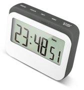 Krumble Digitale Kookwekker - Met digitale klok en alarm - Perfect voor in keuken met magneet en rubberen stootrand - Wit met grijs