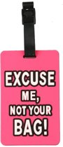 Bagagelabel Excuse me, not your bag - Roze