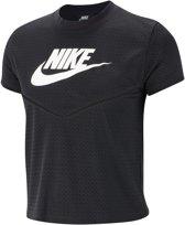 Nike Nsw Hrtg Top Ss Mesh Dames T-shirt - Black/White/(White) - Maat M