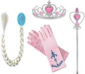 Prinsessen roze accessoireset , vlecht, handschoenen, staf, kroon