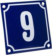 Emaille huisnummer blauw/wit nr. 9 10x10cm