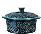 Millimi - Keramisch ovenschaaltje rond met handgrepen en deksel - aquamarijn - 13.5x6cm - Keramiek