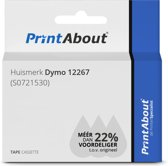 Huismerk Dymo 12267 (S0721530) Tape Zwart op transparant (12 mm)