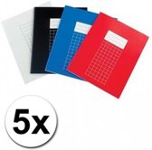 A5 Schriften - Geruit - 10 mm - 5 stuks