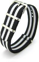Premium Black White - Nato strap 18mm - Stripe - Horlogeband Zwart Wit + luxe pouch