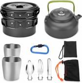 Camping Pannenset - Stapelbare Kookset - Lichtgewicht Aluminium - Met Ketel - 13 delig - Incl. Draagbaar Opbergnetje - Set Gewicht 1 Kg - Voor 1-2 Personen.