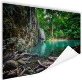 Erawan waterval in jungle Poster 60x40 cm - Foto print op Poster (wanddecoratie woonkamer / slaapkamer)