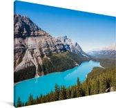 Wateren in het Nationaal park Banff in Canada Canvas 60x40 cm - Foto print op Canvas schilderij (Wanddecoratie woonkamer / slaapkamer)