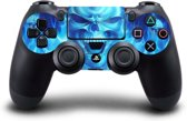 Blauwe Vlammen � Skull PlayStation sticker � PS4 controller skin