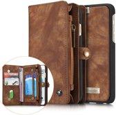 iphone 6/6S Luxe Lederen Portemonnee Hoesje - uitneembaar met backcover (bruin)