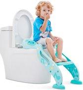 2-in1-Toilettrainer - Toilet Trainer met Verstelbare Anti-Slip Opstapje - Aantrekkelijk Design voor Kids - Leeftijd 2-7 jaar - WC-Brilverkleiner - Toiletverkleiner